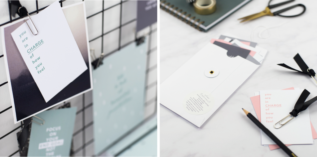 shift your focus positivity cards on a wire memo board