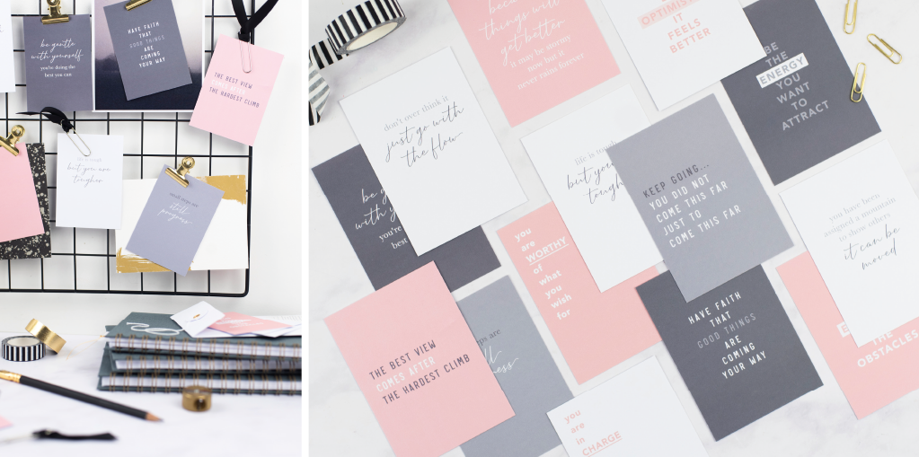 shift your focus cards spread out on the table and shown on a memo board