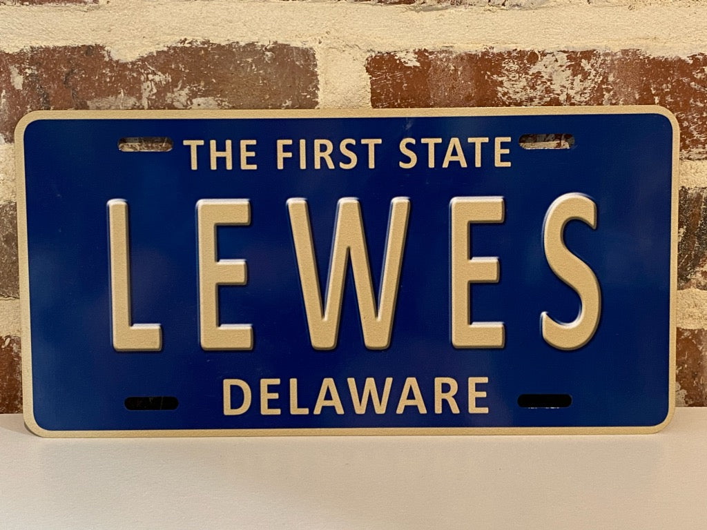 BLUE LEWES LICENSE PLATE