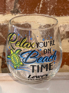 BEACH TIME LEWES WINE GLASS