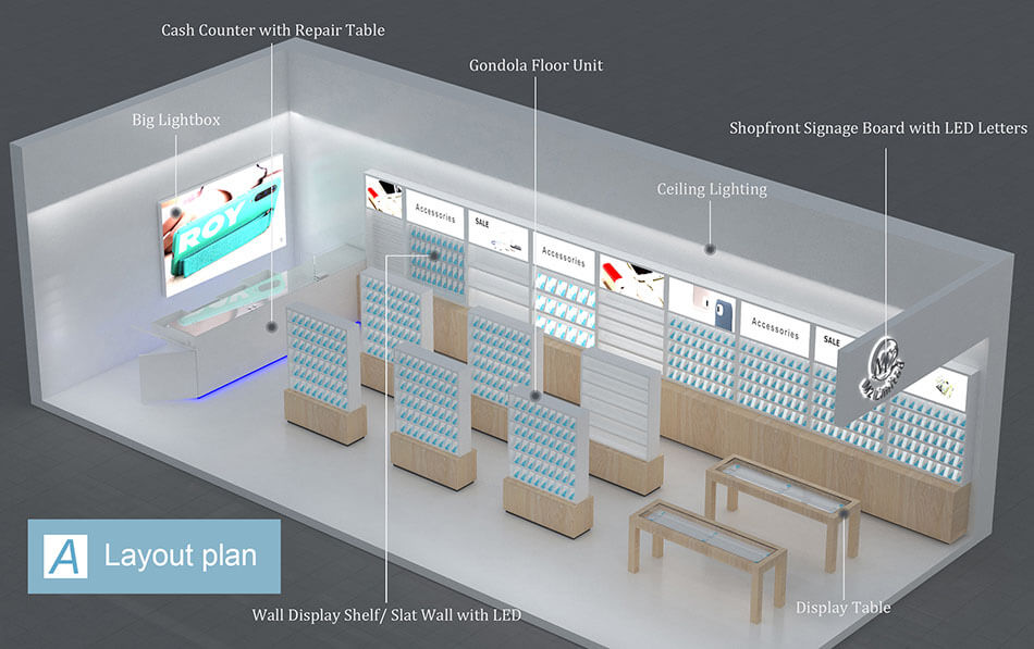 Top view layout plan of modern mobile phone store