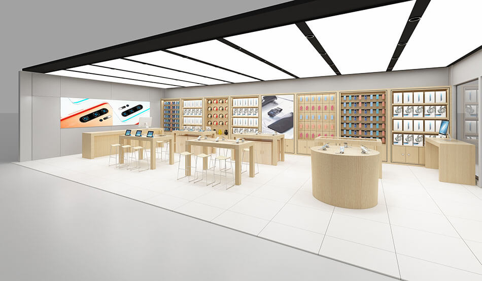 Apple style mobile phone store design effect display