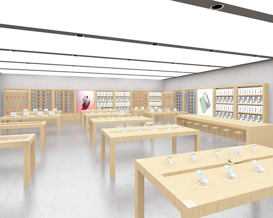 Experience tables and various floor-to-ceiling cabinets in the Apple Experience Store