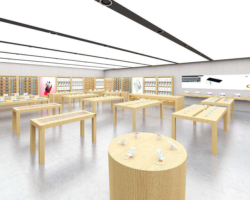 Apple Experience Store Round Cabinet and Glass Display Cabinet