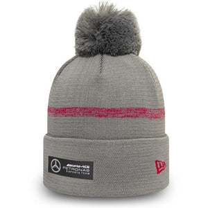 Mercedes Benz AMG Petronas F1 EQ Team Knit Bobble Beanie Hat Gray - MBM Accessories Boutique