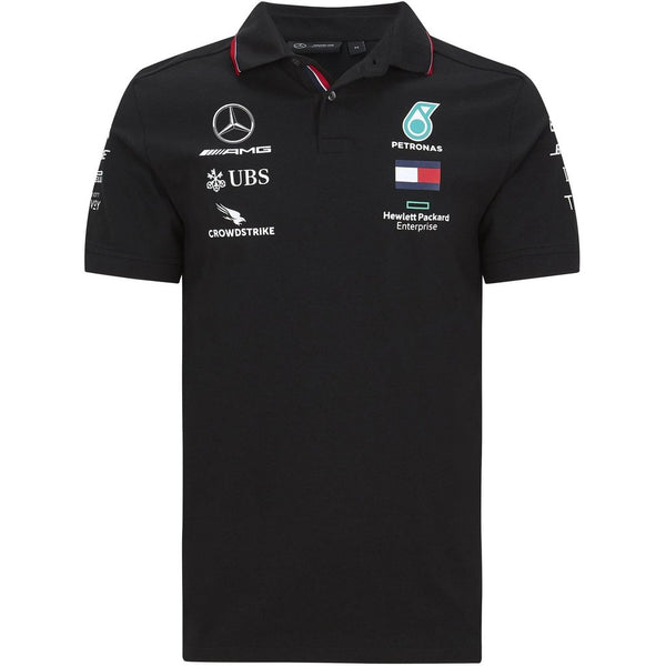 Mercedes Benz AMG Petronas F1 2020 Men's Team Polo Black/White - MBM Accessories Boutique