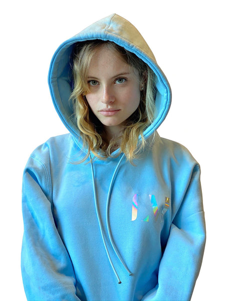 Low Maintenance Hoodie Sky Female Model. Unisex men's woman's sweatshirt.