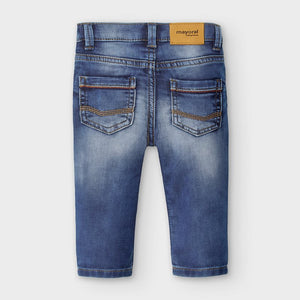 Knit Light Wash Denim Jeans