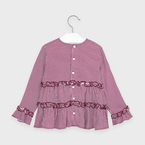 Layered Ruffle Stripe Blouse