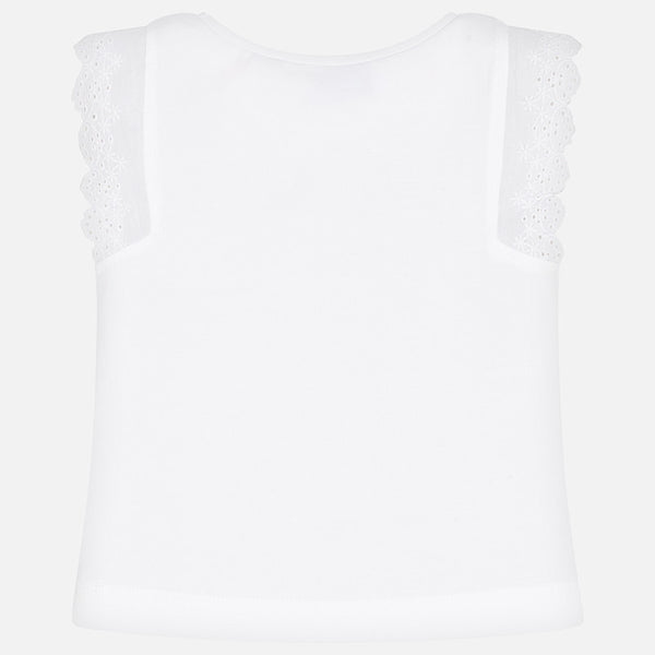 Graphic Lace Shoulder Tee