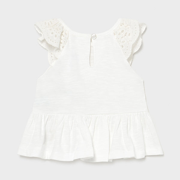 Lace Shoulder Baby Peplum Tee