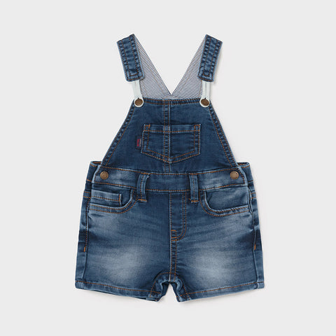 Soft Knit Denim Baby Shortalls