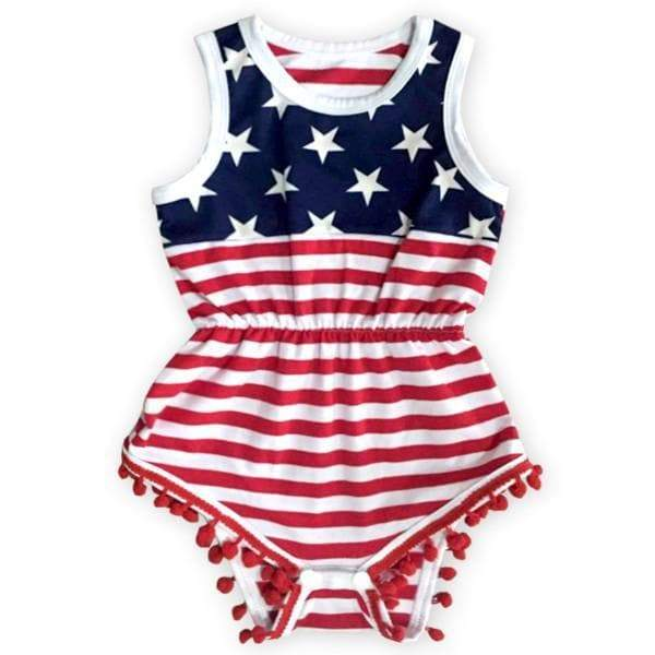 4th of July Pom Romper