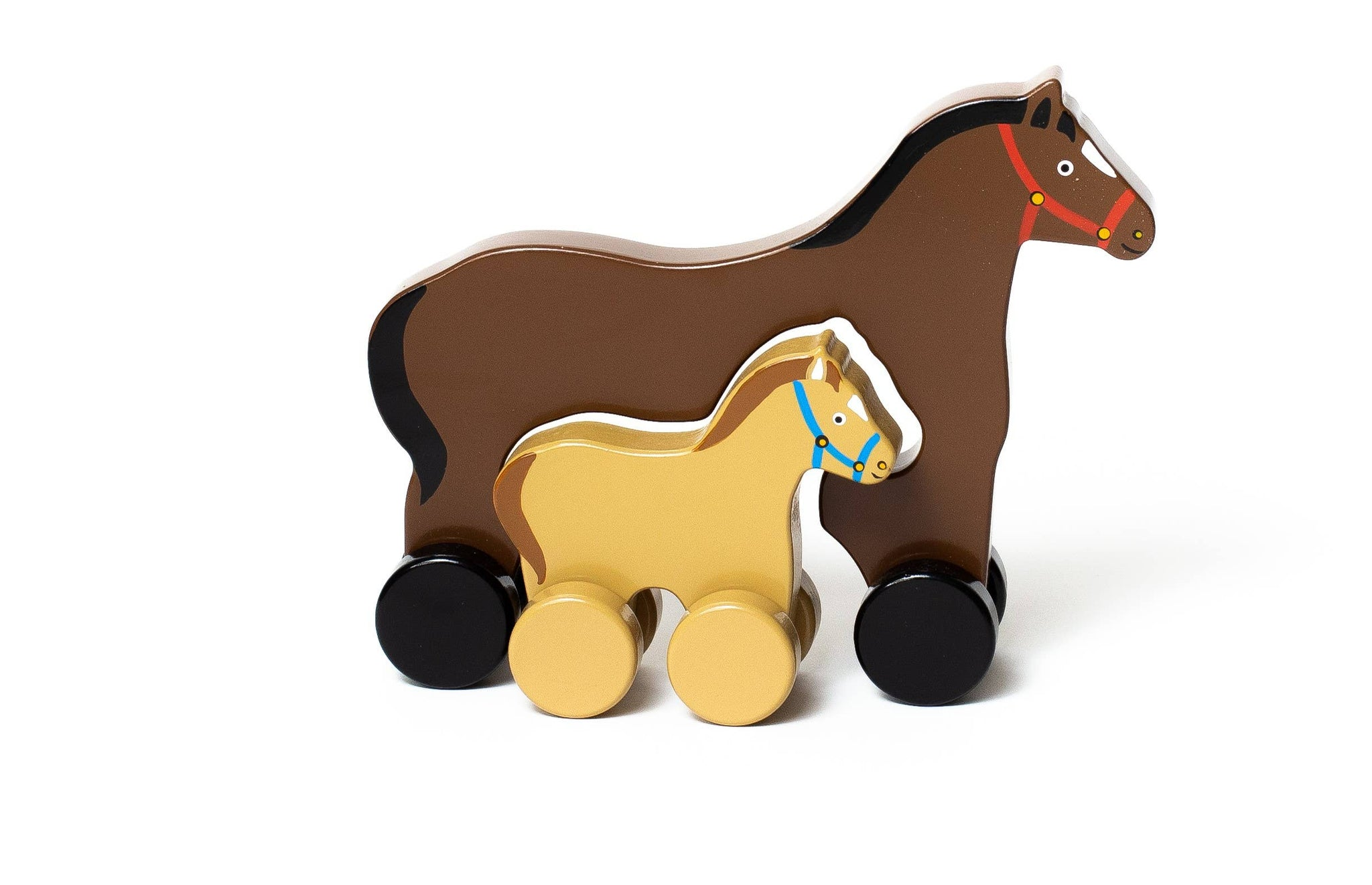 Horse Mommy & Baby Push Toy