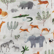 Load image into Gallery viewer, Muslin Safari Jungle Print Swaddle