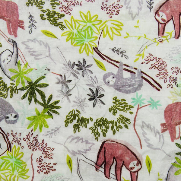 Muslin Sloth Print Swaddle