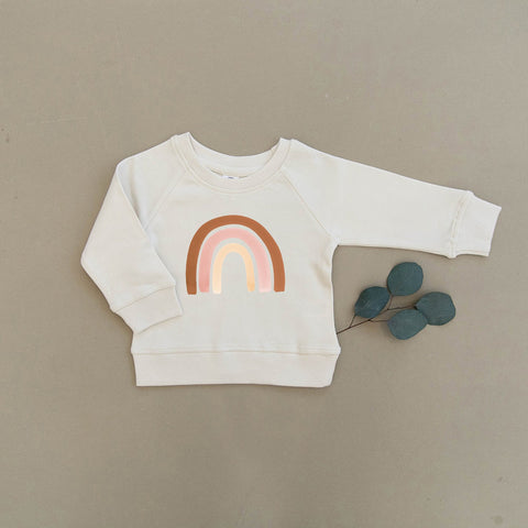 Blush Watercolor Rainbow Organic Pullover