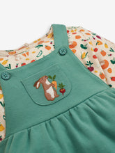 Load image into Gallery viewer, 2-Piece Green Bunny Pinafore Set