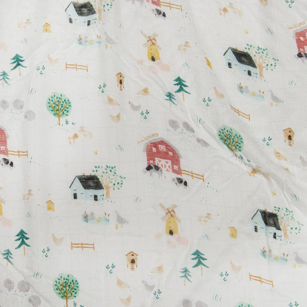 Muslin Farm Animals Print Swaddle