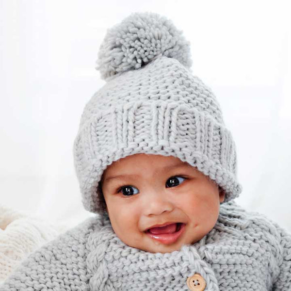 Light Grey Garter Stitch Hat