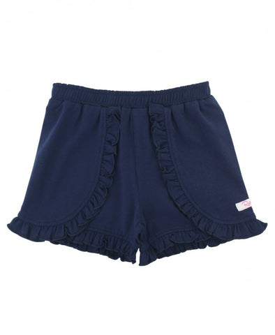 Navy Ruffle Shorts