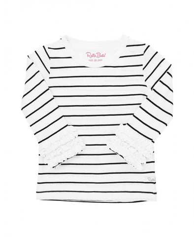 Black & White Striped Long Ruffle Sleeve Tee