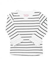 Load image into Gallery viewer, Black & White Striped Long Ruffle Sleeve Tee