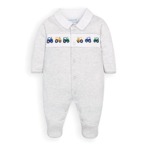 Tractor Embroidered Sleepsuit