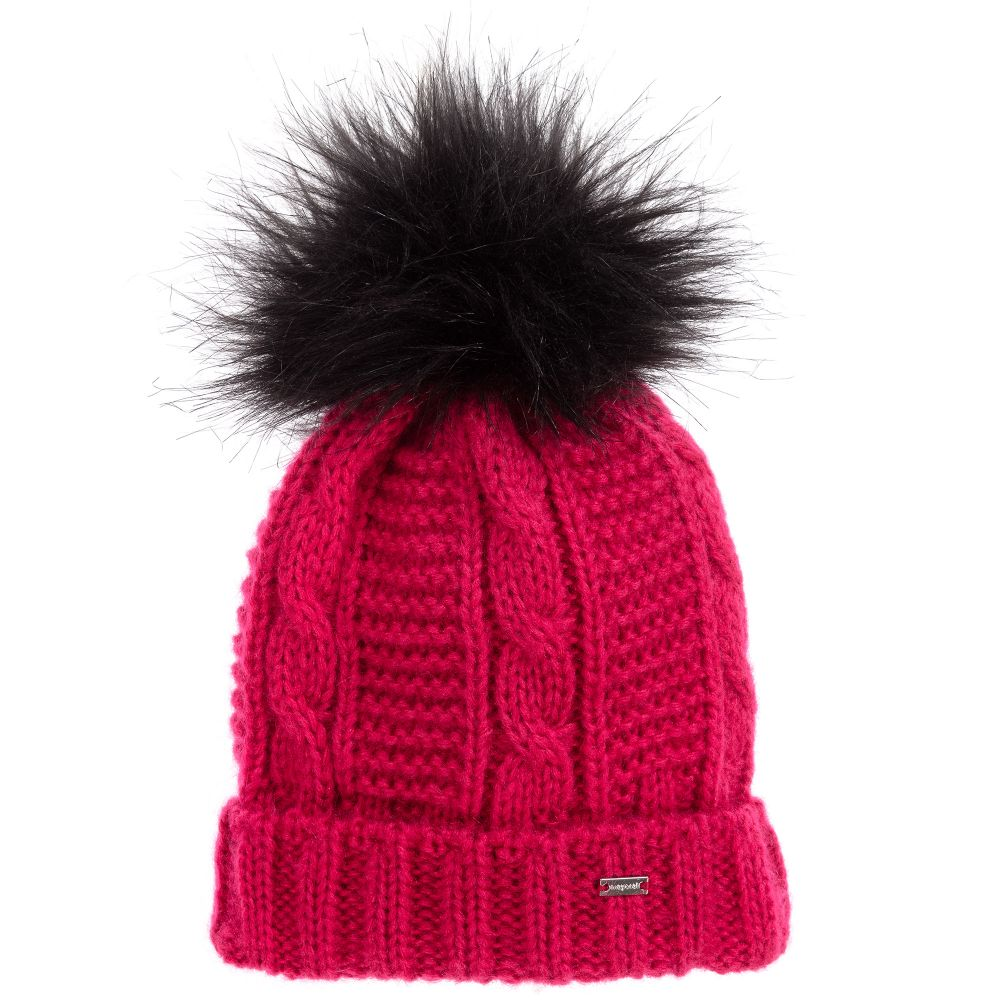 Knit Fur Puff Hat