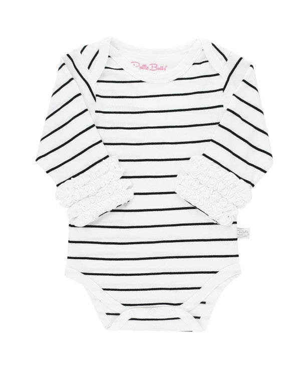 Striped Ruffle Long Sleeve Onesie