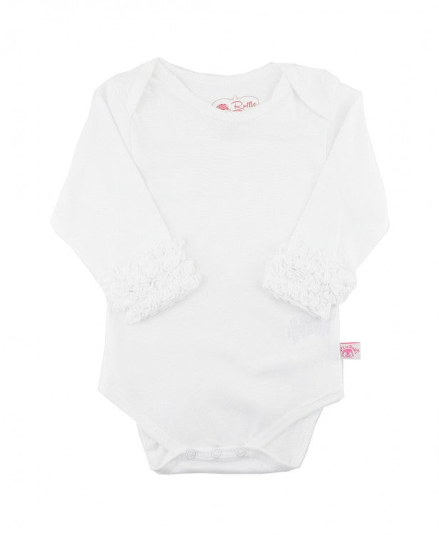 White Ruffle Long Sleeve Onesie