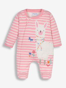 Pink Stripe Llama Applique Sleepsuit