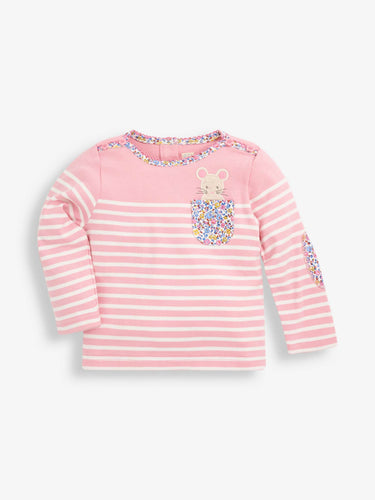 Pale Pink Mouse Pocket Breton Top