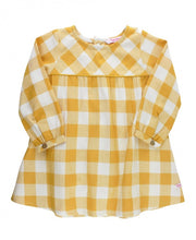Load image into Gallery viewer, Golden Yellow Plaid Button Back Dress