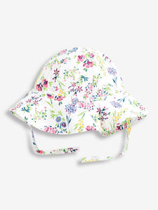 White Floral Floppy Sun Hat