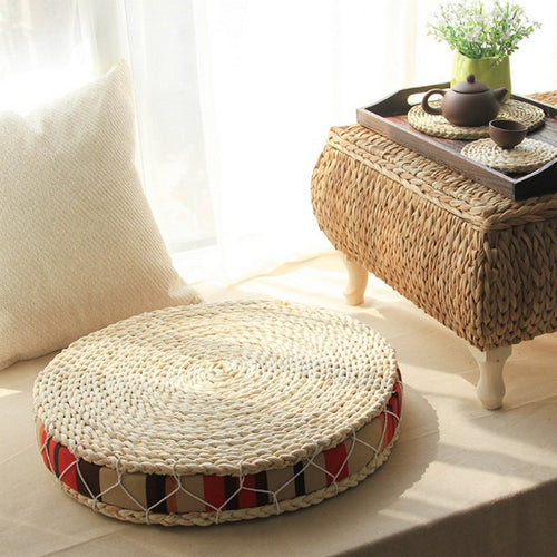 Natural Straw Meditation Round Cushion - Akasa Yoga