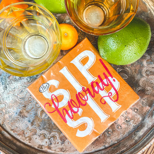 Sip Sip Hooray Cocktail Napkin - Provisions, LLC
