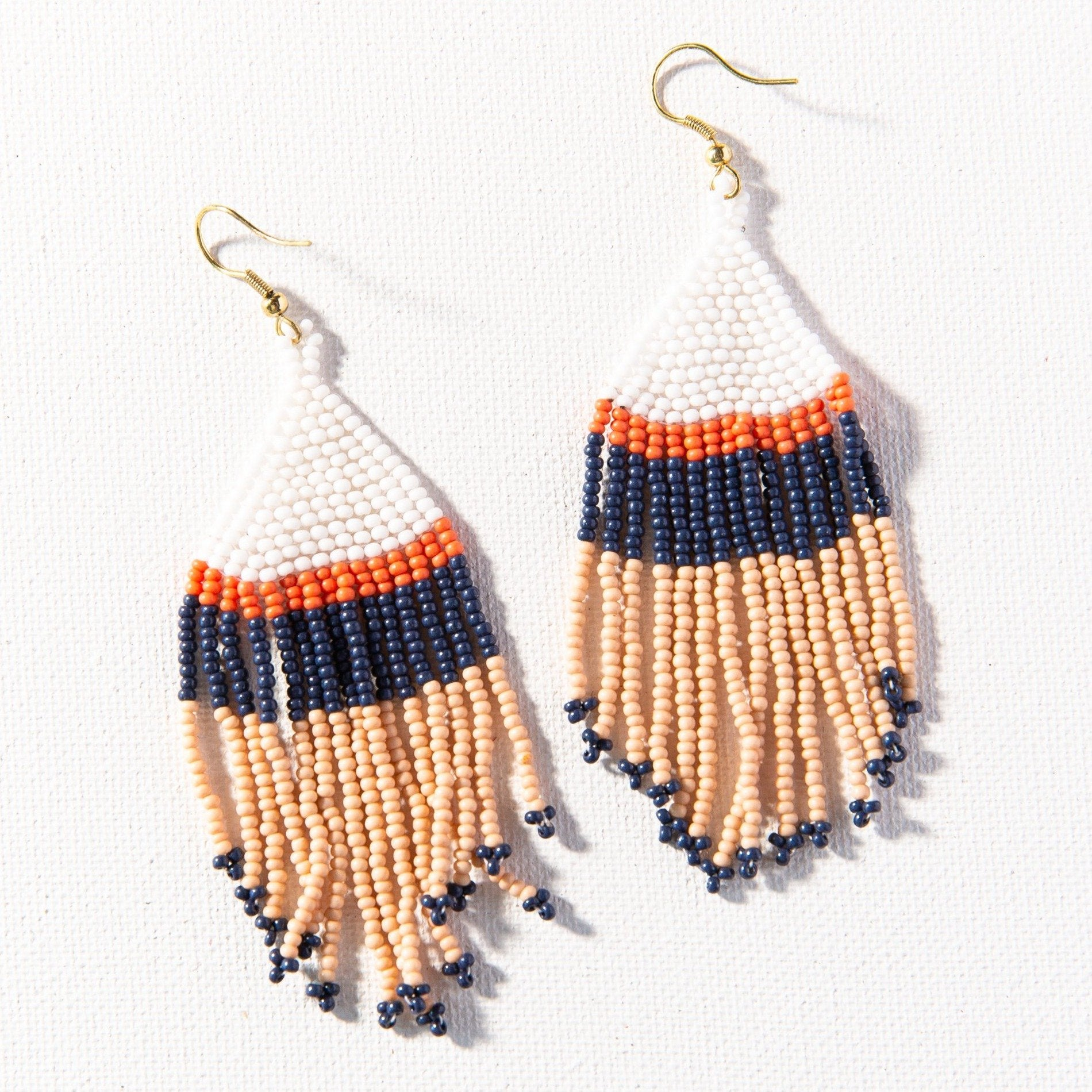 Ink + Alloy Pink White Navy Stripe Seed Bead Earring - Provisions Mercantile
