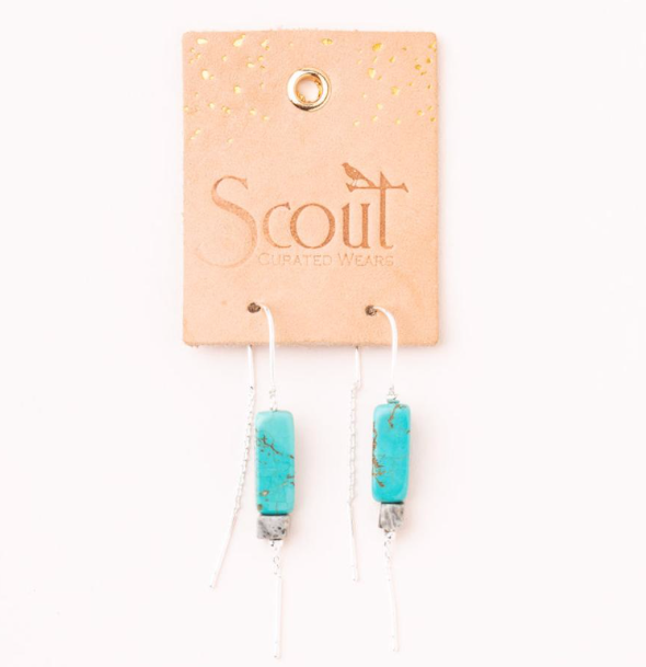 Scout Rectangle Stone Threaded Earrings - Provisions, LLC