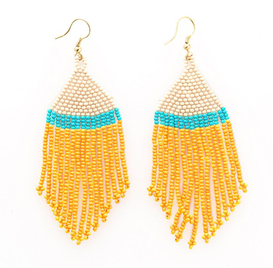 Ink + Alloy Mustard Turquoise Ivory Stripe Seed Bead Earring - Provisions, LLC