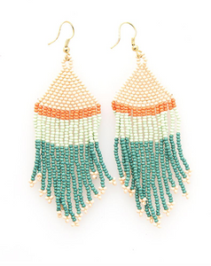Teal Pink Mint Coral Stripe Seed Bead Earring - Provisions, LLC