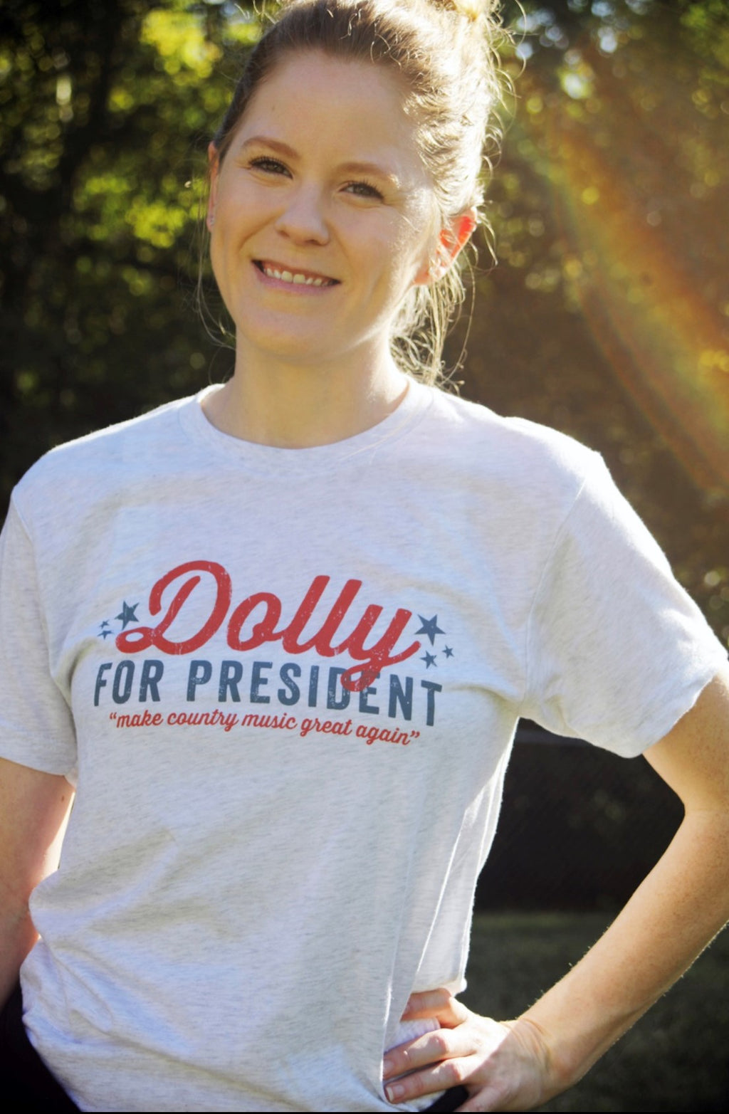 Dolly For President T-Shirt: Heathered White - Provisions, LLC