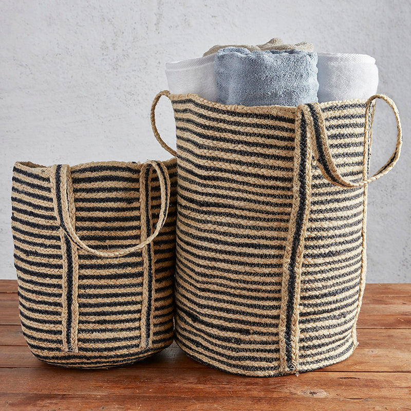 Black Stripe Tote- Large - Provisions Mercantile
