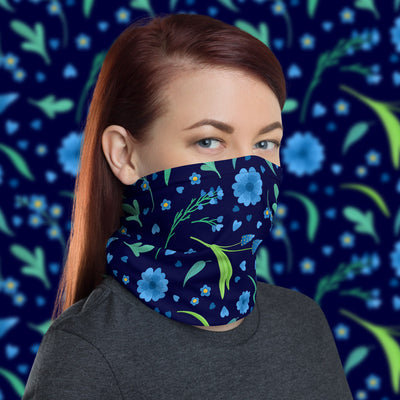 Blue Flowers Face Cover