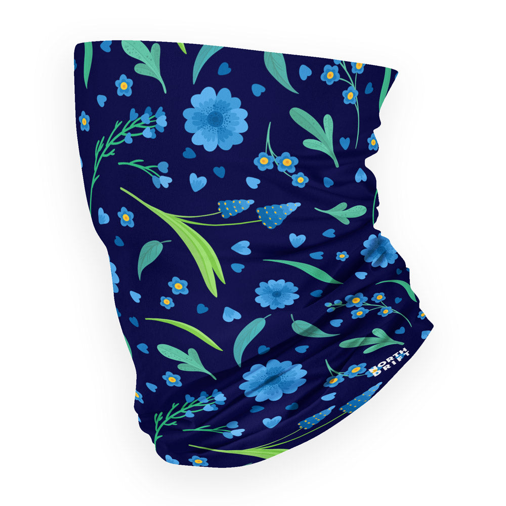 Blue Flowers Neck Gaiter