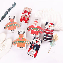 Load image into Gallery viewer, Christmas Cartoon Jacquard Cotton Women's Socks, 3 Sets