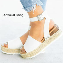Load image into Gallery viewer, Adjustable platform sandals with buckle