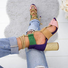 Load image into Gallery viewer, Multi-color Lace-up Heeled Sandals