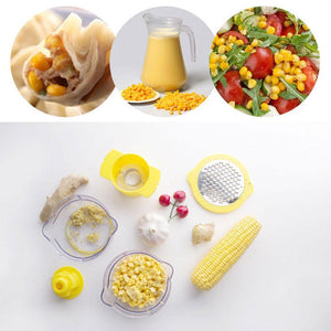 Cob Corn Stripper With Built-In Measuring Cup And Grater