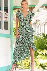 Best Floral Ruffles Cap Sleeve Maxi X-line Dress